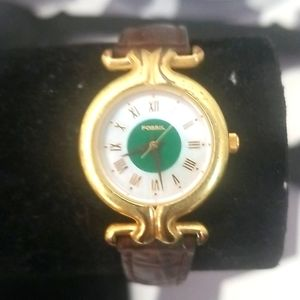 FOSSIL Vintage Ladies Gold and Leather Watch